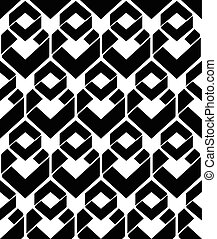 Monochrome endless vector texture with geometric figures,...