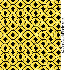 Yellow endless vector texture with green geometric figures...