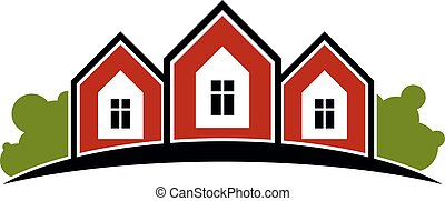 Colorful holiday houses vector illustration, home image with horizon line. Touristic and real estate creative emblem, cottages front view.