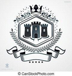 Heraldic coat of arms made in retro design, decorative...