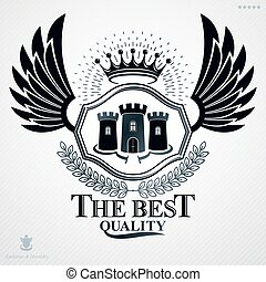 Heraldic coat of arms made in retro design, decorative emblem with wings, medieval fortress and imperial crown