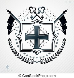 Classy emblem made with laurel leaf decoration, Christian cross and keys symbols. Vector heraldic Coat of Arms.