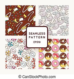 Set of Vector Candy, Bows and Muffins Seamless Patterns. Sweet Party Texture.