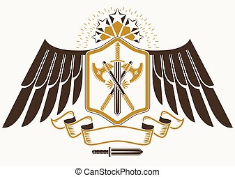 Vintage decorative heraldic vector emblem composed with eagle wings, hatchets and pentagonal stars