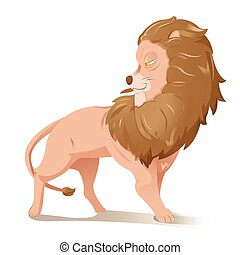 Lion Cartoon Grand Animal Character Vector