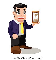 Worker Man Pose Hold Sand glass Vector