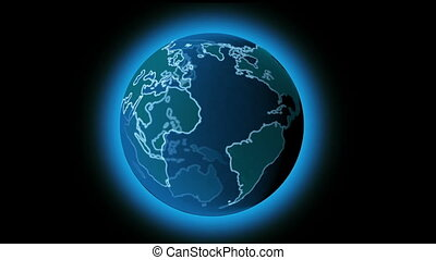 Rotating earth with atmosphere hologram effect