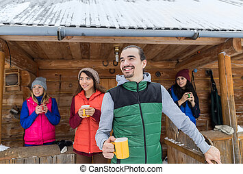 People Group On Terrace Holding Cup Hot Coffee Tea Wooden...