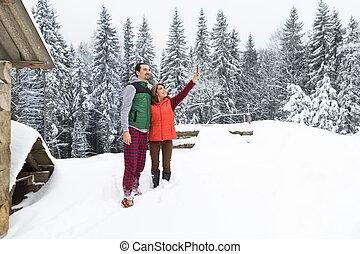 mulher, selfie, Inverno, nevado, madeira, foto, par, vila,...