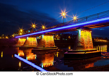 October 14. 2016 footbridge Night Uzhgorod Ukraine road...