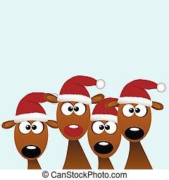 deers with red santa hat