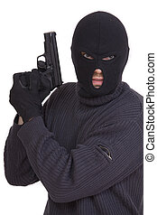 terrorist in balaclava with gun on white background