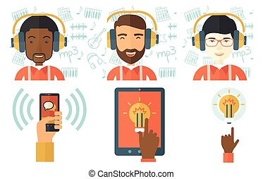 Vector set of illustrations with business people. - Happy...