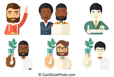Vector set of characters on ecology issues. - Scientist...