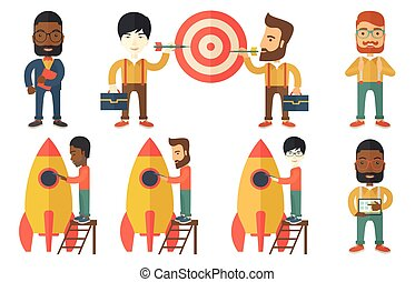 Vector set of illustrations with business people. - Young...