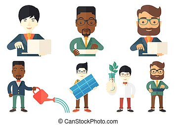 Vector set of characters on ecology issues. - Young happy...