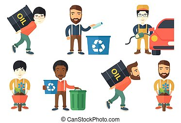Vector set of characters on ecology issues. - Worker of oil...