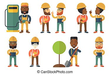Vector set of characters on ecology issues. - Engineer...