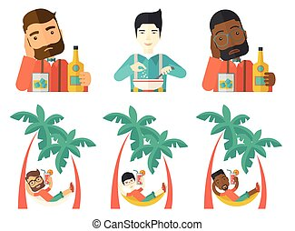 Vector set of people eating and drinking. - Young happy...