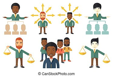 Vector set of illustrations with business people. -...