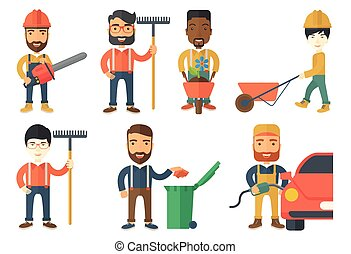 Vector set of characters on ecology issues. - Lumberjack...