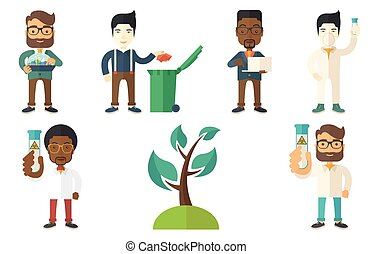 Vector set of characters on ecology issues. - Laboratory...