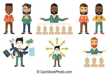 Vector set of illustrations with business people. - Audience...