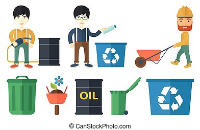 Vector set of characters on ecology issues. - Joyful man...