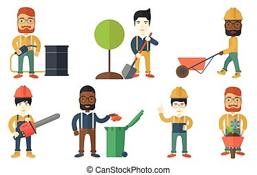 Vector set of characters on ecology issues. - Young man...
