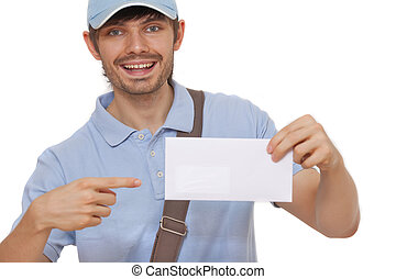 postman delivering mail - happy postman showing mail on...