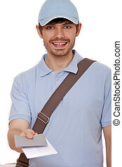 mailman with letters - happy mailman with letters on white...