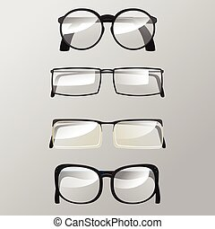 Eye Glasses Graphic Design Set Vector