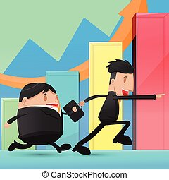 Man Run Business Stock Market Graph Vector