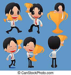 Man Hold Reward Gold Cup Vector