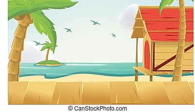 Wood Sea Sky Tropical Background Vector
