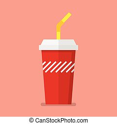 Soft drink in flat style. Vector illustration