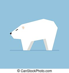 White bear in flat style