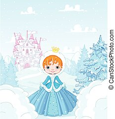 Winter Princess - Cute little princess in the snow, standing...