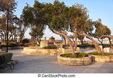 Gardjola Gardens in the early morning, Senglea, Malta - The...