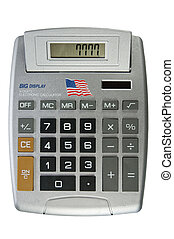 Big display calculator with American flag - isolated on...
