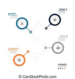 Business data process chart. Abstract elements of graph,...