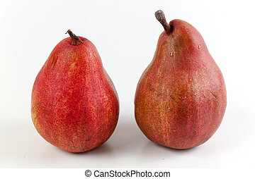 Ripe red pear fruits on white background