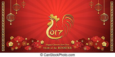 Year of Rooster, Chinese New Year - 2017, Holiday, Greeting...