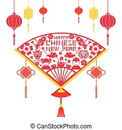 Papercut Fan, Chinese New Year - Decoration, Holiday,...