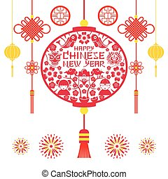 Papercut Lantern, Chinese New Year - Decoration, Holiday,...