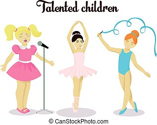 Little talented girls set vector illustration isolated on...