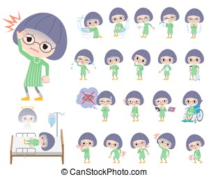 Green clothes Bobbed Glasses girl About the sickness - Set...