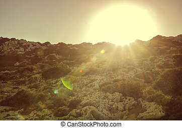 Sunset on the mountain. Cavo Greco. Cyprus. toning....