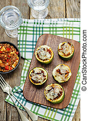 meat of red bell pepper stuffed zucchini. toning. selective...