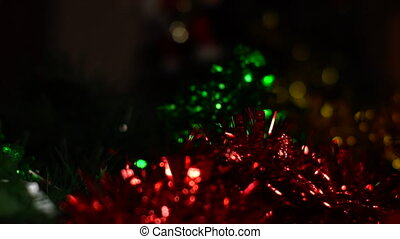Dolly shot of Christmas decoration and presents